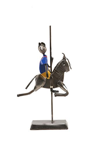 BOY ON CARROUSEL HORSE LARGE, figurine, iron covered, used for sale  Delivered anywhere in USA