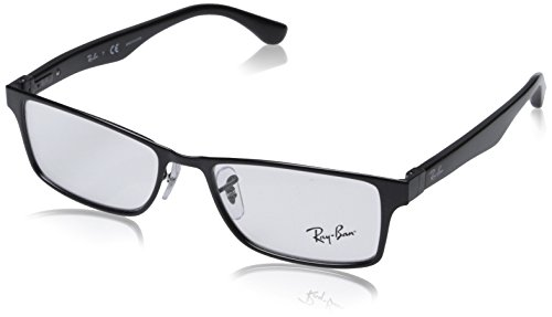 Ray-Ban RX6238 Square Metal Eyeglass Frames, Shiny Black/Demo Lens, 53 ()