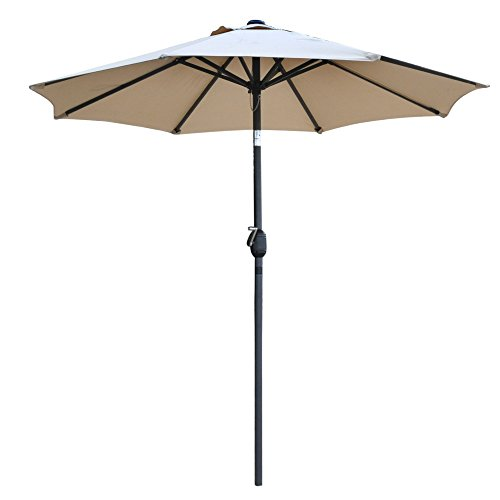 Snail 7'2 Tilting Small Patio Umbrella Sunshade 1000 Hours Fade-resistant Outdoor Porch Table Umbrella with Push Button Tilt, 8 Ribs, Beige (With In Chairs Middle Table Two)