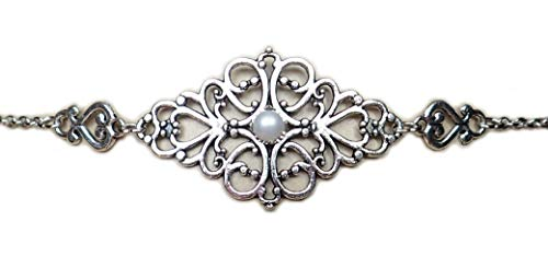 Moon Maiden Jewelry White Pearl Elven Silver Filigree Circlet Headpiece -