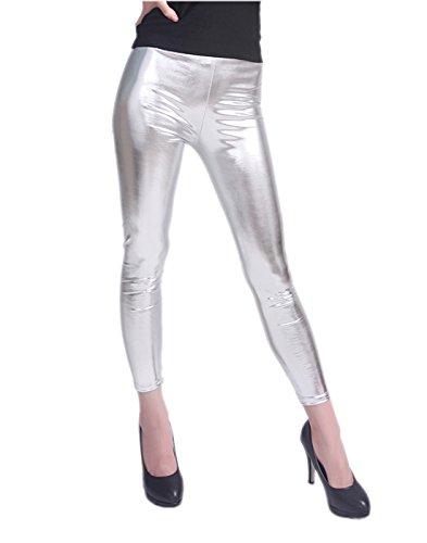 HDE Women Clubwear Shiny Liquid Wet Look Metallic Stretch Leggings - Plus Sizes Available (Silver, (Silver Metallic)