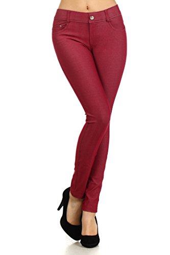 ICONOFLASH Women's Herringbone Stretch 5 Pocket Jegging (Wine Red, Small/Medium)