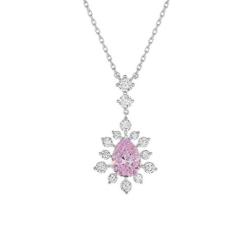 Rhodium Plated Sterling Silver Pear Shape 1.8 cttw CZ Center Stone Vintage Pendant Necklace (Colors), Pink