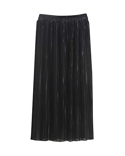 Brillante Femme Taille Plisse Noir Coupe Jupe Haute Jupe lastique Couleur Slim Jupe Midi Unie Taille Yonglan fwExqT7Cw