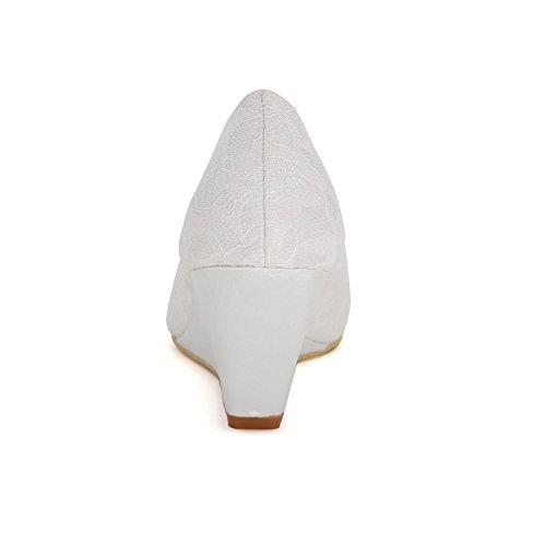 L@YC Women Wedding Shoes Comfortable Slope Heels Autumn and Winter 9140-01a & Satin Evening Dress Blue 7ig1YFO