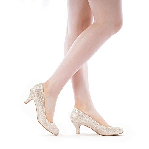 DREAM PAIRS Luvly Women's Bridal Wedding Party Low Heel Pump Shoes