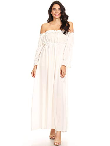 ANNA-KACI Womens Off Shoulder Chemise Renaissance Dress, White, Small (Off Shoulder Peasant Dress)