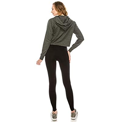 EttelLut Long Sleeve Pullover Cropped Top Athletic Workout Hoodie w Drawstring for Women at Women's Clothing store