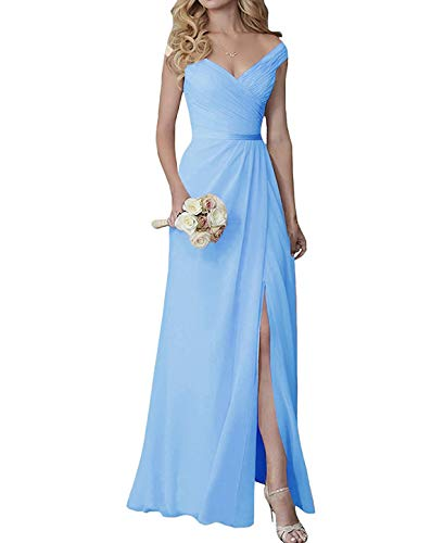 Bridesmaid Evening Off Gowns Neck Long The Chiffon Dresses A Split Shoulder V pink Prom qqPErv