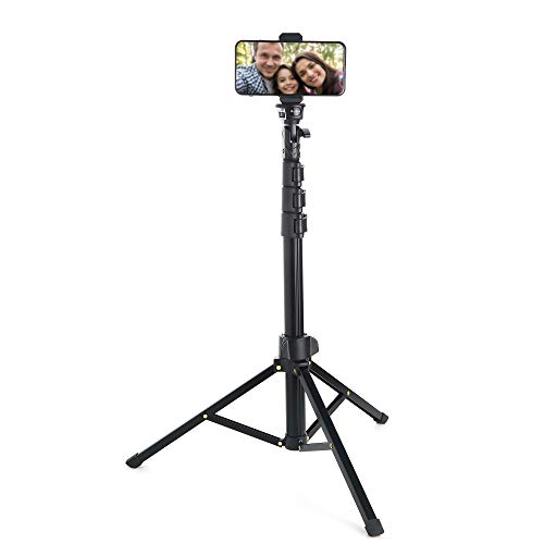 Ruittos Phone Selfie Stick Tripod, 54-inch Bluetooth Cell Phone Tripod Ring Light Stand Compatible with iPhone 11 Pro X…
