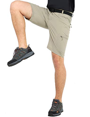 - MIER Men's Quick Dry Hiking Shorts Lightweight Cargo Shorts with 6 Pockets, Stretchy, Water Resistant, Rock Grey, 36