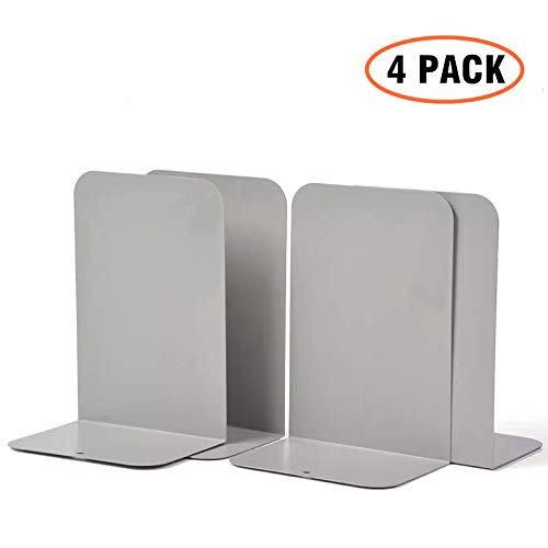 CY craft 4 Pieces Metal Bookends,Non-Skid Heavy Duty Book Ends,Bookends for Shelves,Office Book Holder and Book Stopper for Books/Movies/CDs,Gray,8.1x5.3x3.95 Inch