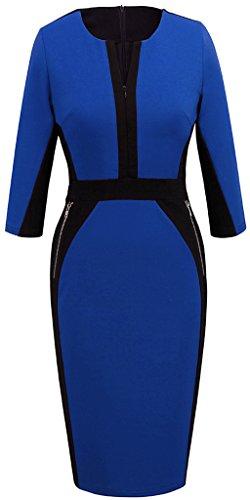 Homeyee Stretch Tunic Pencil Sheath Dress U837 (8, Blue)