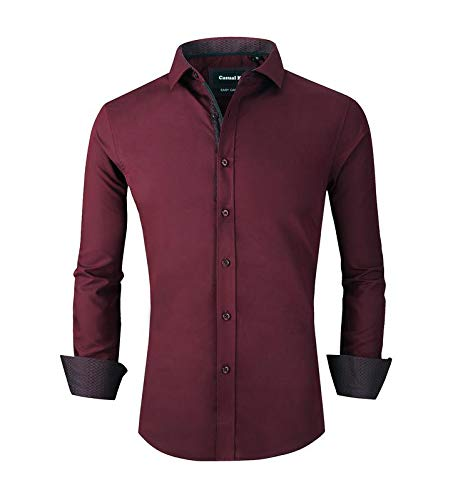 Casual King Mens Dress Shirts Wrinkle-Free Long Sleeve Slim Fit Button Down Formal Shirt (Burgundy,Small)