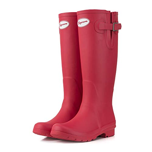 JOYCORN Women's Wellies Rain Boots Original Waterproof Knee-High,(Red,7 B M ()