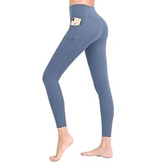 FANDIMU Women's Athletic Yoga Pocket Running Compression Pants Gym Tummy Control Sport High Waisted Legging Blue XXL