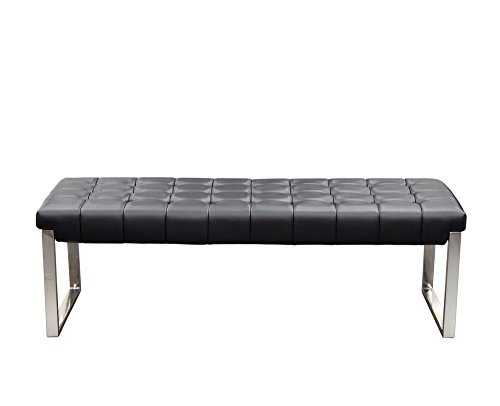 Diamond Sofa Backless and Tufted Bench with Stainless Steel Frame in Black