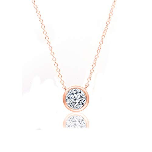 Mothers Day Gifts 1/5 Carat Natural Diamond Necklace 10K Rose Gold