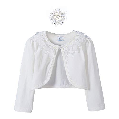 (Girls Long Sleeve Shrug Bolero Jacket Cotton Shawl Cardigan for Little Princess Dress up Cover)