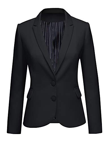 LookbookStore Women's Black Notched Lapel Pocket Two Buttons Work Office Blazer Jacket Suit Size M US 8 10