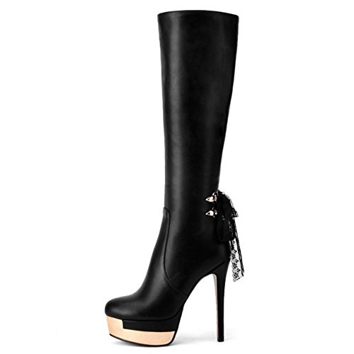 Zipper Women Black Boots KemeKiss Tall xYFq664