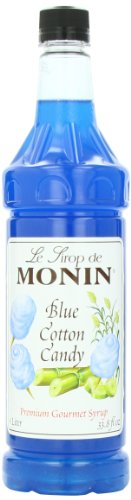 Monin Flavored Syrup, Blue Cotton Candy, 33.8-Ounce Plastic Bottles (Pack of 4)
