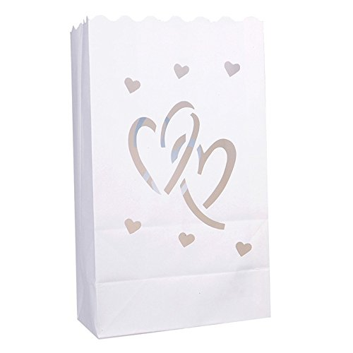 Joinwin® Pack of 30 New White Luminary Bags - Interlocking Hearts Design - Wedding, Reception, Party and Event Decor - Flame Resistant Paper - Luminaria -