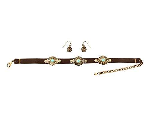 M&F Western Women's Leather with Copper Concho Choker/Earrings Set Copper One Size