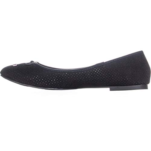 Round Black Closed Toe Bow Slip Women's Flat On Ballet Orly Perforated ESPRIT fwFxZx