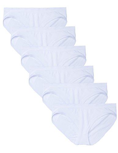 Nylon White Panty Brief (Kalon 6 Pack Women's Hipster Brief Nylon Spandex Underwear (Medium, 6PK White))
