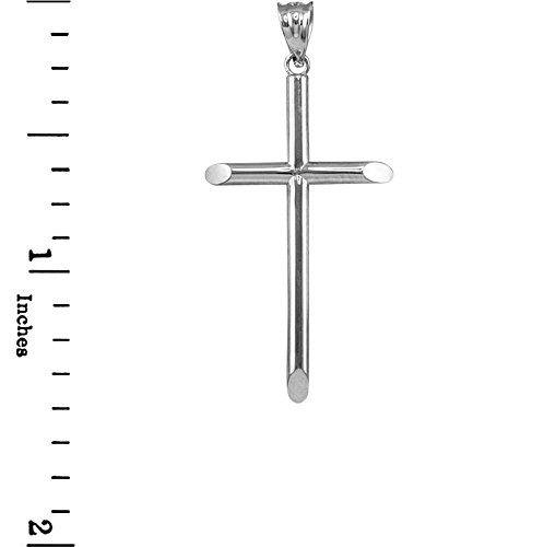 Plain Tube Cross - Polished Solid Sterling Silver Plain Tube Cross Charm Pendant (L-1.6