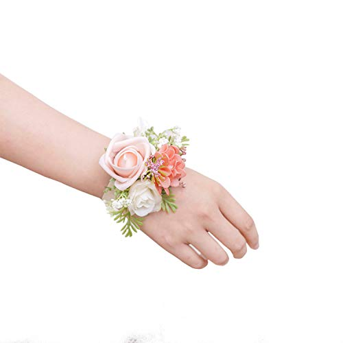 Ling's moment Wrist Corsage Bracelet, Set of 6 Prom Corsage Coral Pink for Bridesmaid Bridal Shower Wedding Flower Corsage Ribbon