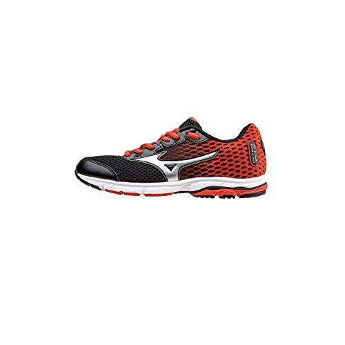 Mizuno Scarpa Running Sneaker Bambino Wave Rider 18 Nero Bianco Arancio - 36.5