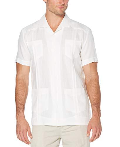 Cubavera Men's Slim Fit Short Sleeve 100% Linen Guayabera Shirt, Bright White, XX-Large (Best Guayaberas In Miami)