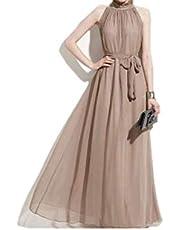 فستان شيفون بوهيمي ماكسي طويل بحمالة للرقبة
