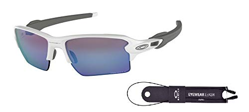 Oakley Flak 2.0 XL OO9188 918882 59M Polished White/Prizm Deep H2o Polarized Sunglasses For Men+BUNDLE with Oakley Accessory Leash ()