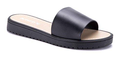 Schuhtempel24 Damen Schuhe Pantoletten Sandalen Sandaletten Flach 3 cm Schwarz