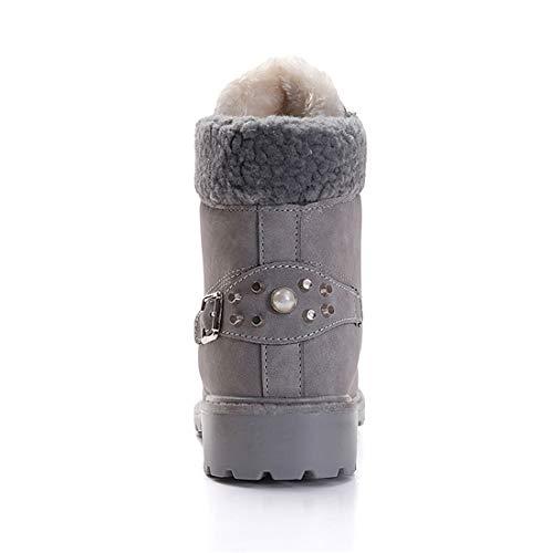 892bc27a0 Botas Nieve Mujer Otoño Invierno Calentar Piel Forro Botines Goretex Retro  Snow Boots Cordones Zapatillas Planas Caqui Gris Rosa 36-41  Amazon.es   Zapatos y ...