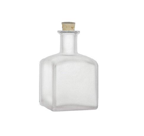 (Nakpunar 1 pcs 7 oz Square Frosted Glass Bottle with Cork Bottle Stopper (210 ml))