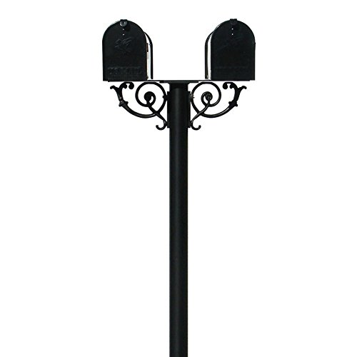 (The Hanford  Cast Aluminum Twin Mailbox Post System with 2 Economy Mailboxes, Mounting Brackets and Scroll Supports, Ships in 2 boxes)