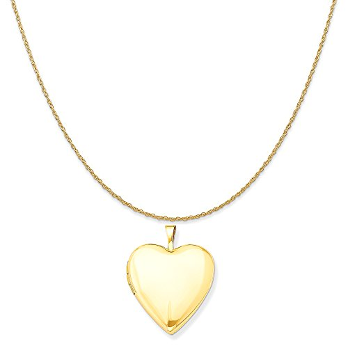 14k Yellow Gold 20mm Plain Polished Heart Locket Pendant on 14K Yellow Gold Rope Necklace, 18