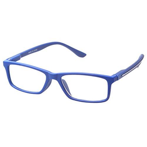 (MLC Eyewear ® 'Avon' Rectangle Reading Glasses +3.00 in Blue)