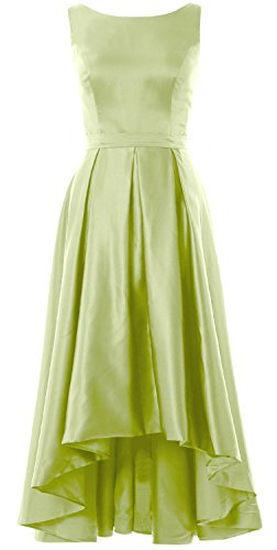 MACloth Elegant Bateau Neck High Low Cocktail Dress Wedding Party Formal Gown Pistachio