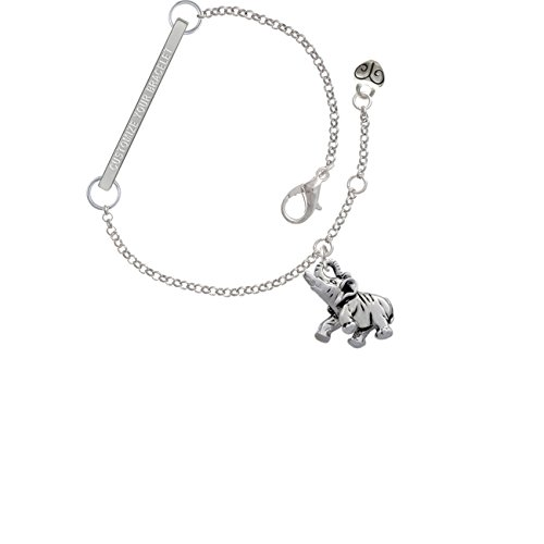 Elephant Custom Engraved Delicate Bar Bracelet