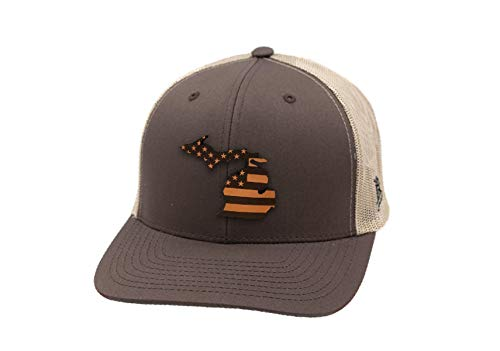 Brown Leather Michigan - Branded Bills 'Michigan Patriot' Leather Patch Hat Curved Trucker - OSFA/Brown/Tan