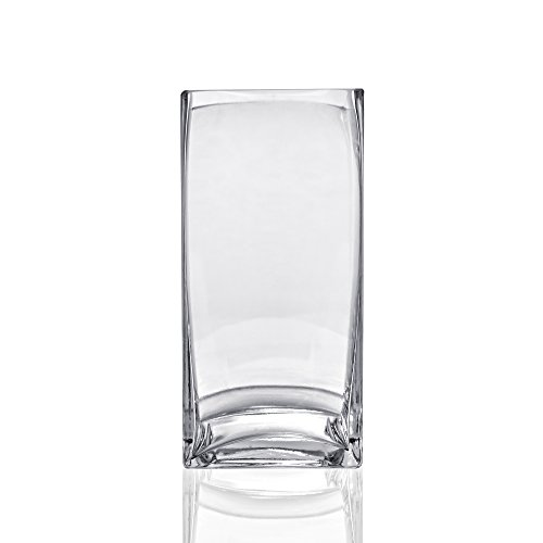 10 Inch Clear Square Glass - CYS Glass Square Vase (Pack of 6), 10