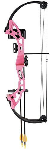 Bear Archery Youth Archery Bow, Pink Brave Girls Boys Beginner Compound Bow - Bow Set Brave