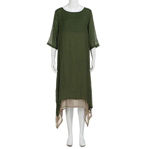 Janly Baumwolle Leinen Kleid Frau Casual Baggy Lose Langes Kleid ...