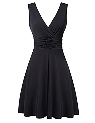 HiQueen Women Sexy Deep V Neck Sleeveless Causal Cocktail Evening Party Summer Dress