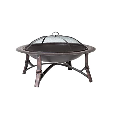 "Fire Sense 60857 35"" Roman Fire Pit with Brushed Painted Steel Legs,"